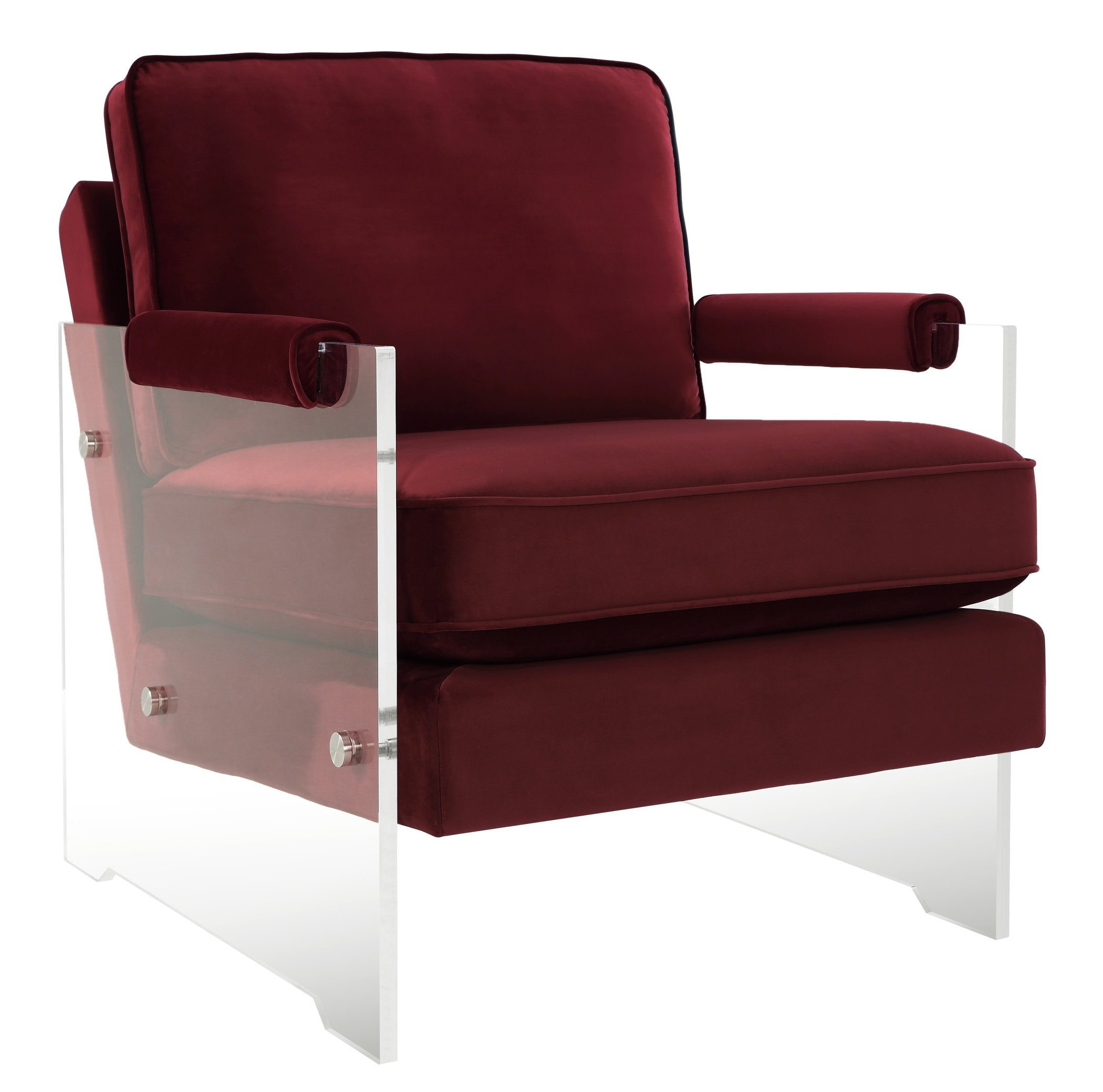 Floating Blush Velvet Acrylic Arm Chair