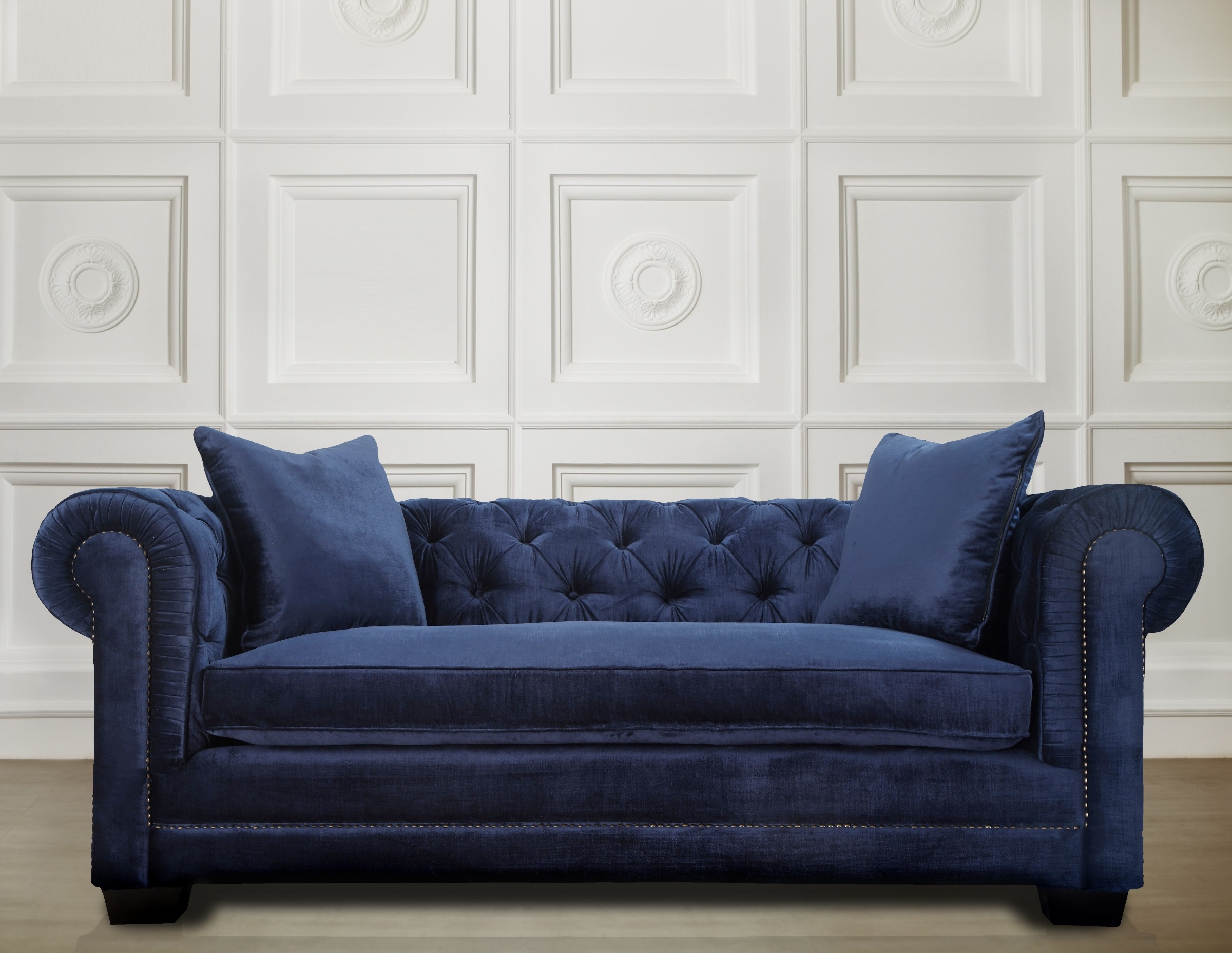 Stylish Blue Velvet Sofa