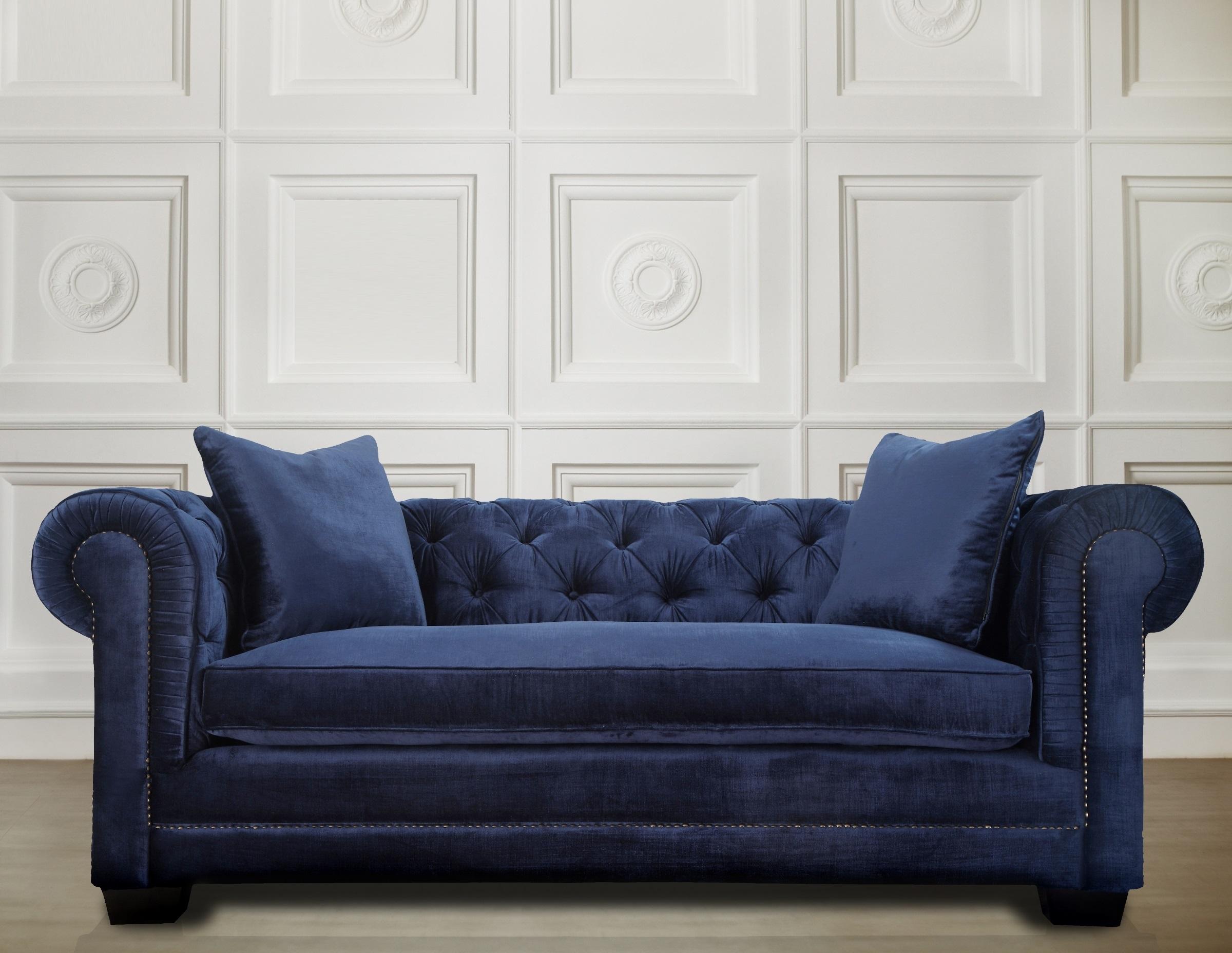 Stylish Blue Velvet Sofa