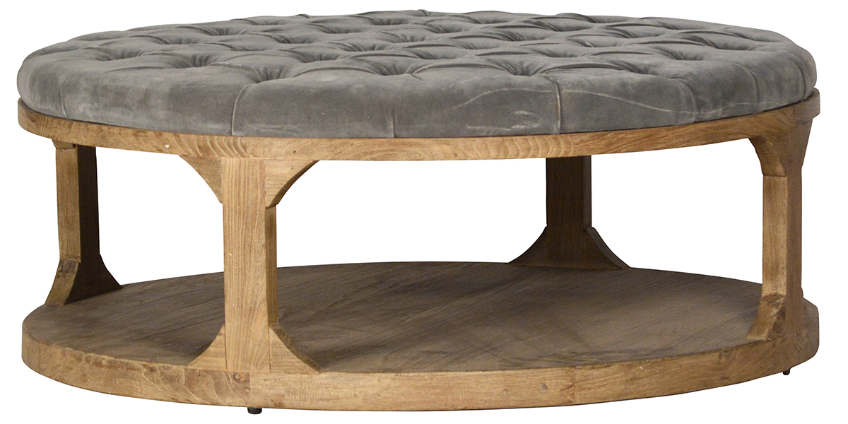 Square Tufted Ottoman Reclaimed Wood Frame