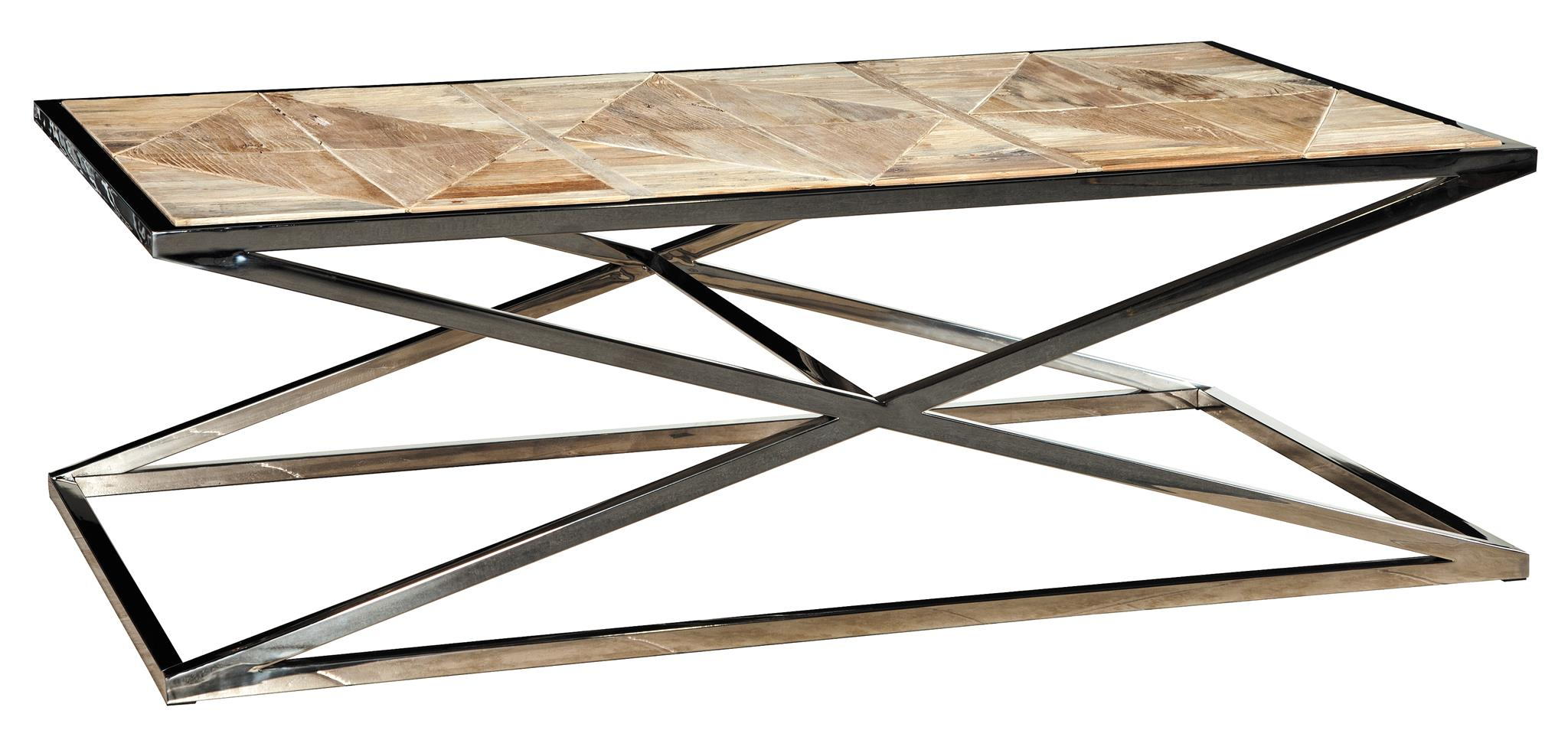 Brass & Strap Leather Coffee Table
