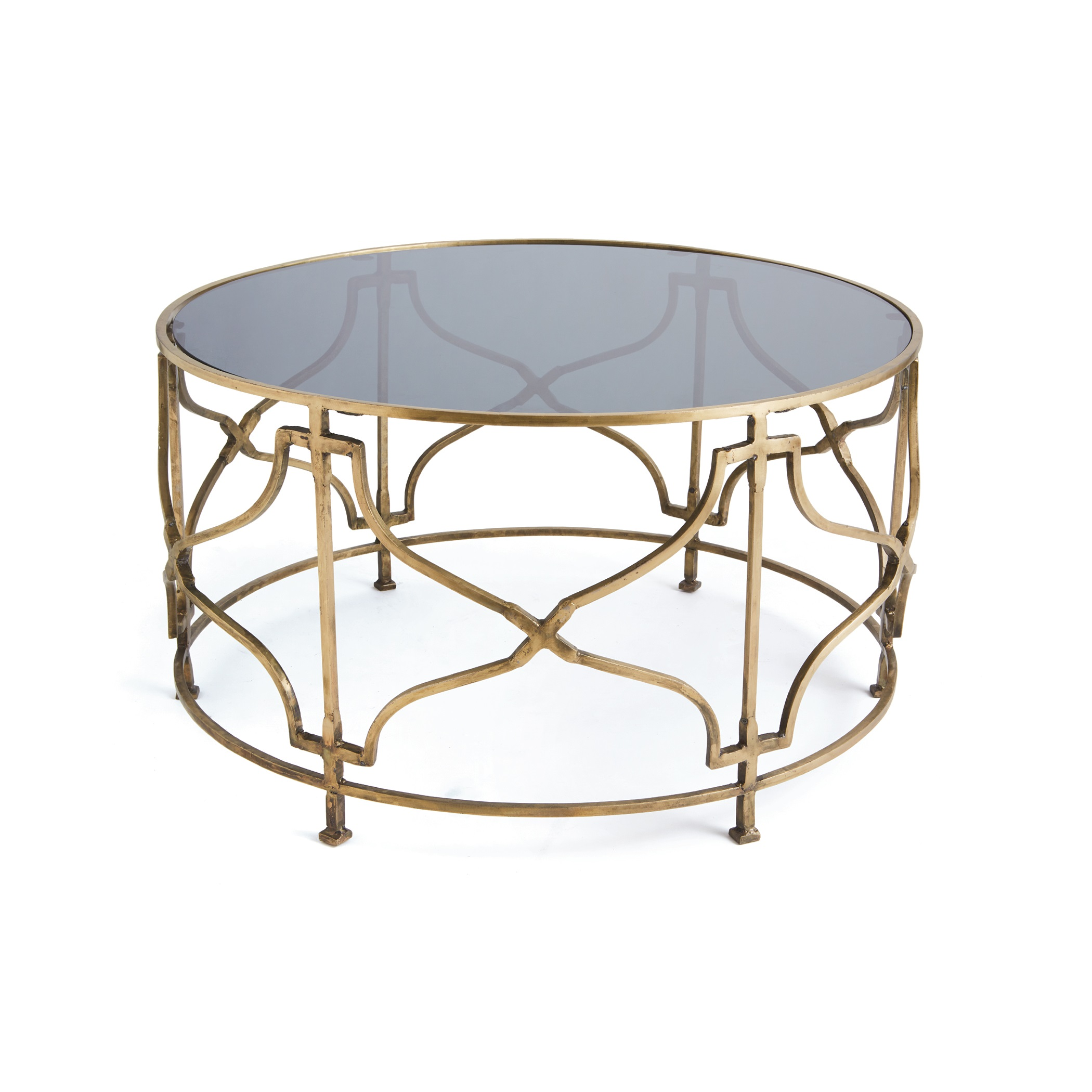 Gold molecular coffee accent table Metal and glass coffee table